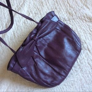 Vintage Plumb Purple Leather Crossbody Purse Bow
